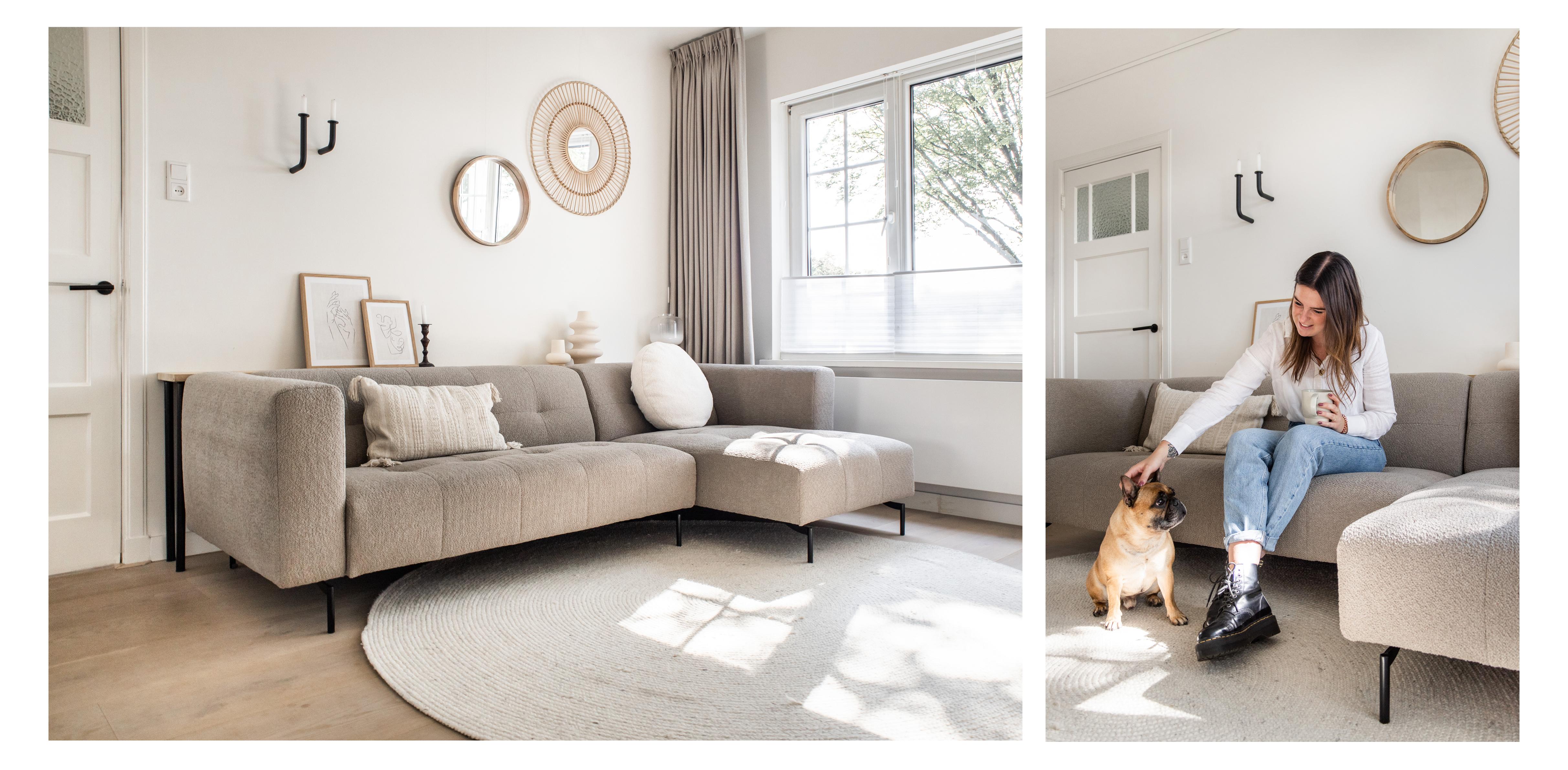 woonkamer, bank, bouclé, zachte stof, zitbank, interieur, styling, hoekbank, bruine bank